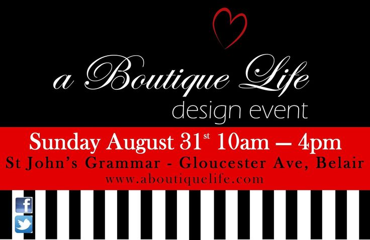 Come and see us this Sunday 31 August @ A Boutique Life Design Event in Belair, an event not to be missed!