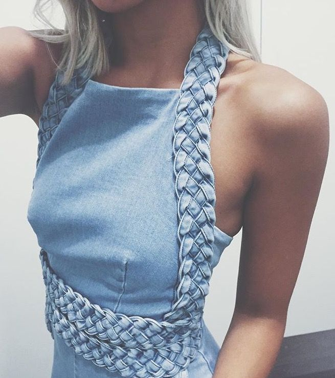 Braided LOVE. Easy transformation to a plain denim dress or top. DIY sewing with…