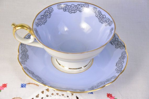 Royal Bayreuth tea cup and saucer/ Bavaria Germany/ small black rose pattern