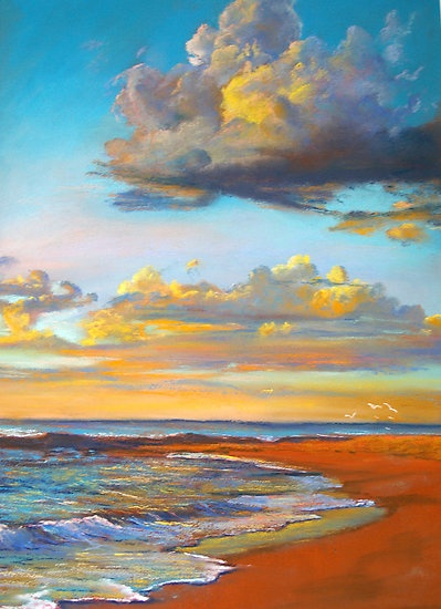 Marengo Sunrise by Lynda Robinson Pastel on Colourfix paper (like this from The Artist's Corner)