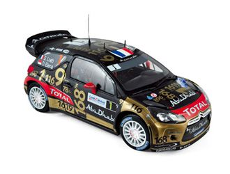 Citroen DS3 WRC (Sebastien Loeb - Rally France 2013) in Black and Gold (1:18 scale by Norev 181549)