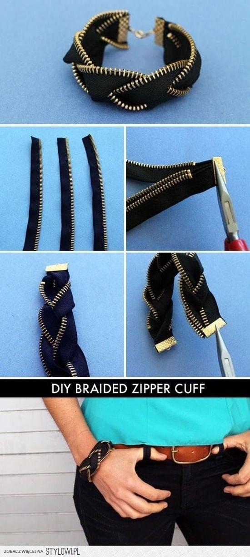 diy braided zipper cuff