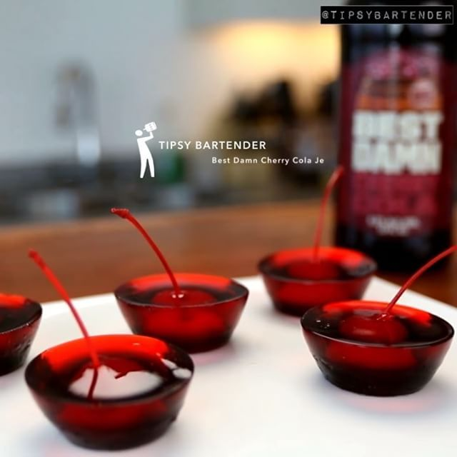 "36.5k Likes, 1,375 Comments - TIPSY BARTENDER (@tipsybartender) on Instagram: ""BEST DAMN Cherry Cola Jello Shots!  Click on the link in my bio to watch the full video!…"""