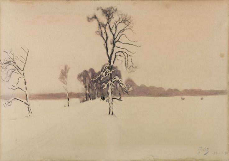 Julian Falat, Okiść zimowa - Osiek (Śnieg). wł. Muzeum Narodowe w Krakowie // Snow, owned by the National Museum in Krakow