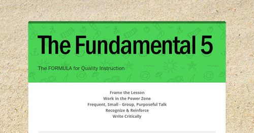 The Fundamental 5  Frame the LessonWork in the Power ZoneFrequent, Small - Group, Purposeful TalkRecognize & ReinforceWrite Critically