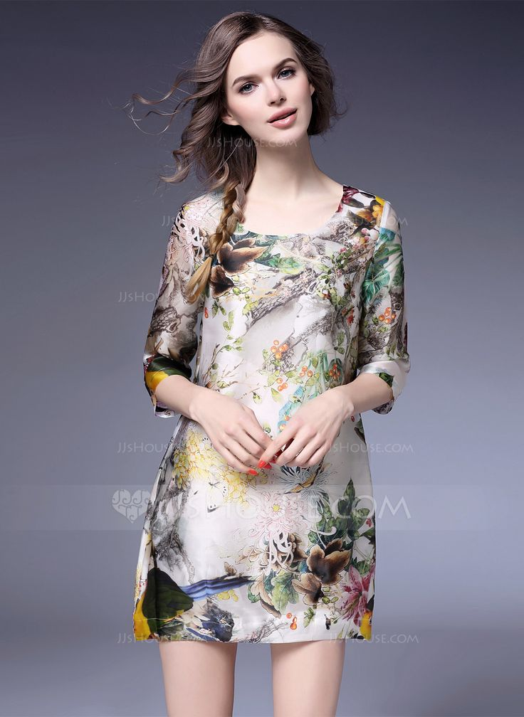 Above Knee Round Neck Polyester Silk 100%Silk Print 3/4 Sleeves Fashion Dresses