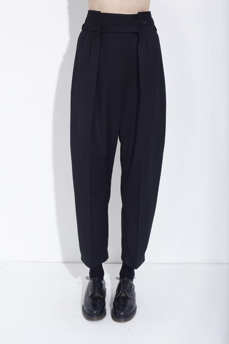 Black adjustable organic wool trousers | Women | Clothing | Honest by