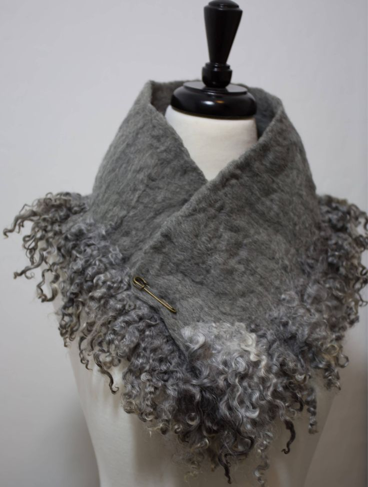 Excited to share the latest addition to my #etsy shop: Organic Australian Merino Wool and Gotland Sheep Curl Locks Cowl Collar Wool Wet Felted Scarf Gift for Her Neck Warmer Fur Collar Felt Scarf #art #fiberart #wetfelt #feltscarf #woolscarf #collarscarf #cowlscarf #neckwarmer #sheep