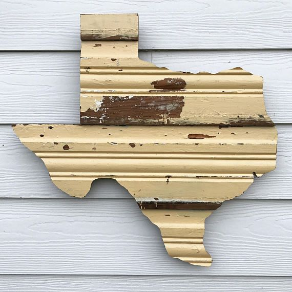 Reclaimed Wooden Texas Sign Rustic State Outline Rustic