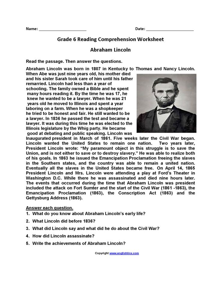 6th grade reading worksheets free