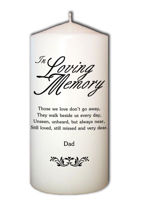 In Loving Memory Memorial Candle For Wedding Ceremonies Dad