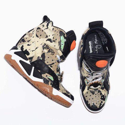 Melody Ehsani x Reebok Black Top Pump Wedge Sneakers