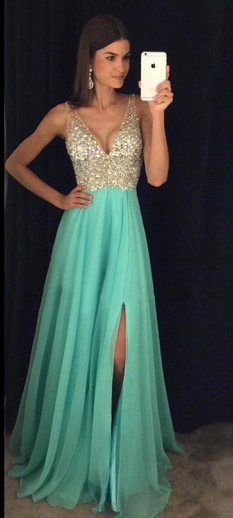 Sexy V Neckline Prom Dress with Slit Graduation Dresses Formal Dress For Teens pst1571
