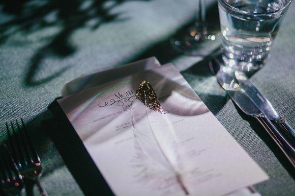 Wedding Place Setting With Glitter Feather | Laki Sideris Photography on @polkadotbride via @aislesociety