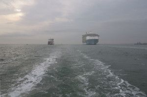 Oasis of the Seas vs Red Funnel ferry from afar by Dave Monk