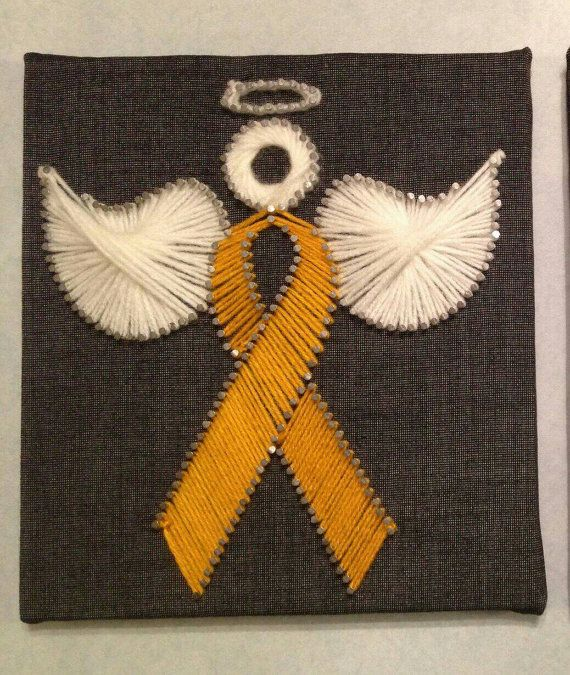 9 x 8 Angel Gold Ribbon Childhood Cancer by CraftsforaCure16