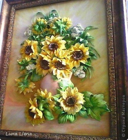 Картина панно рисунок Лепка Букет подсолнухов Тесто соленое фото 1