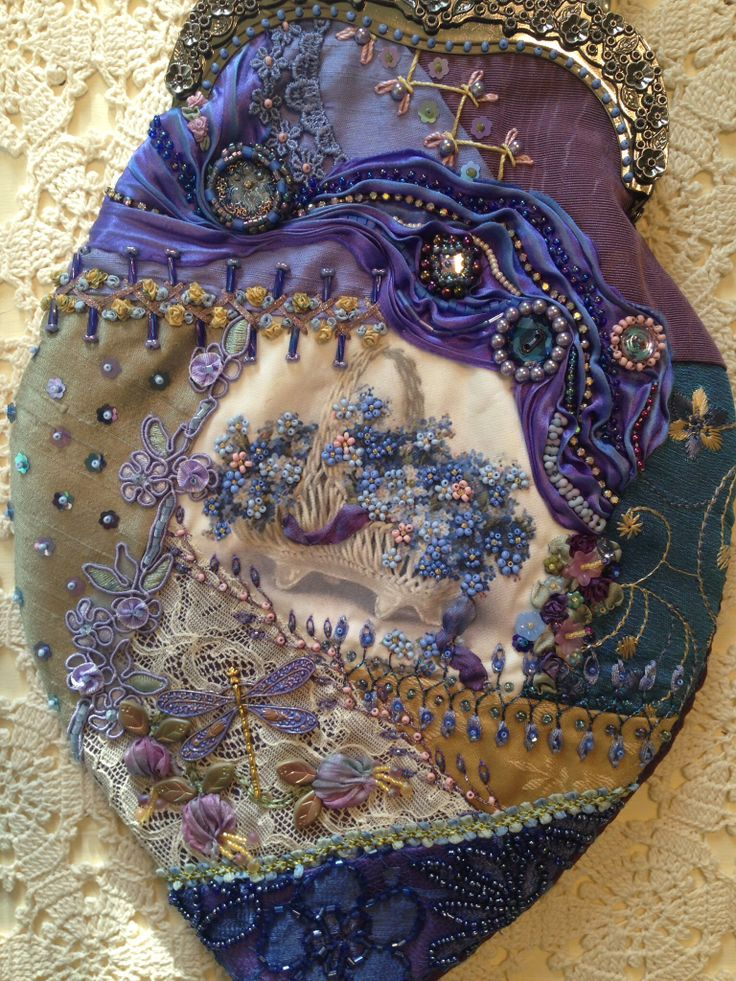 Crazy quilt purse. Pat WI already have the top metal part, just need to make the purse part. thinking of using some of the purple silk shantung I bought many years ago to make a suit.