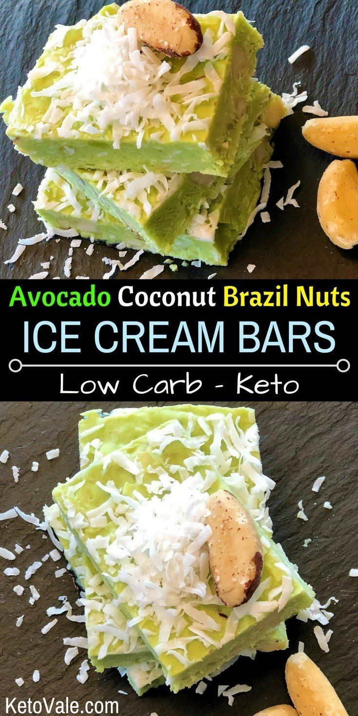 Keto Avocado Ice Cream Bars with Coconut and Brazil Nuts Low Carb Recipe via @ketovale