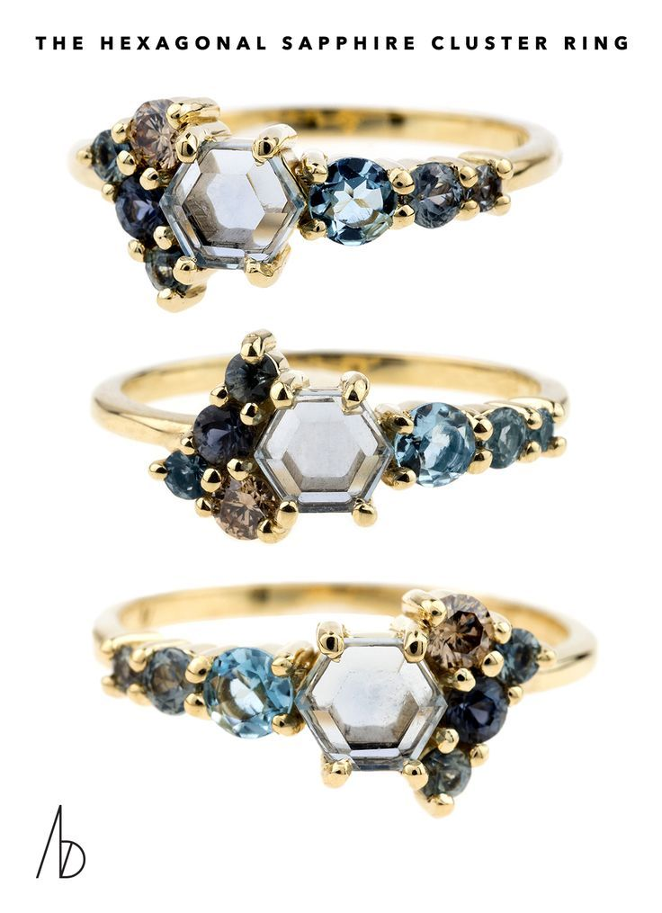 Introducing the Hexagonal Sapphire Cluster Ring in 14kt yellow recycled gold fro...
