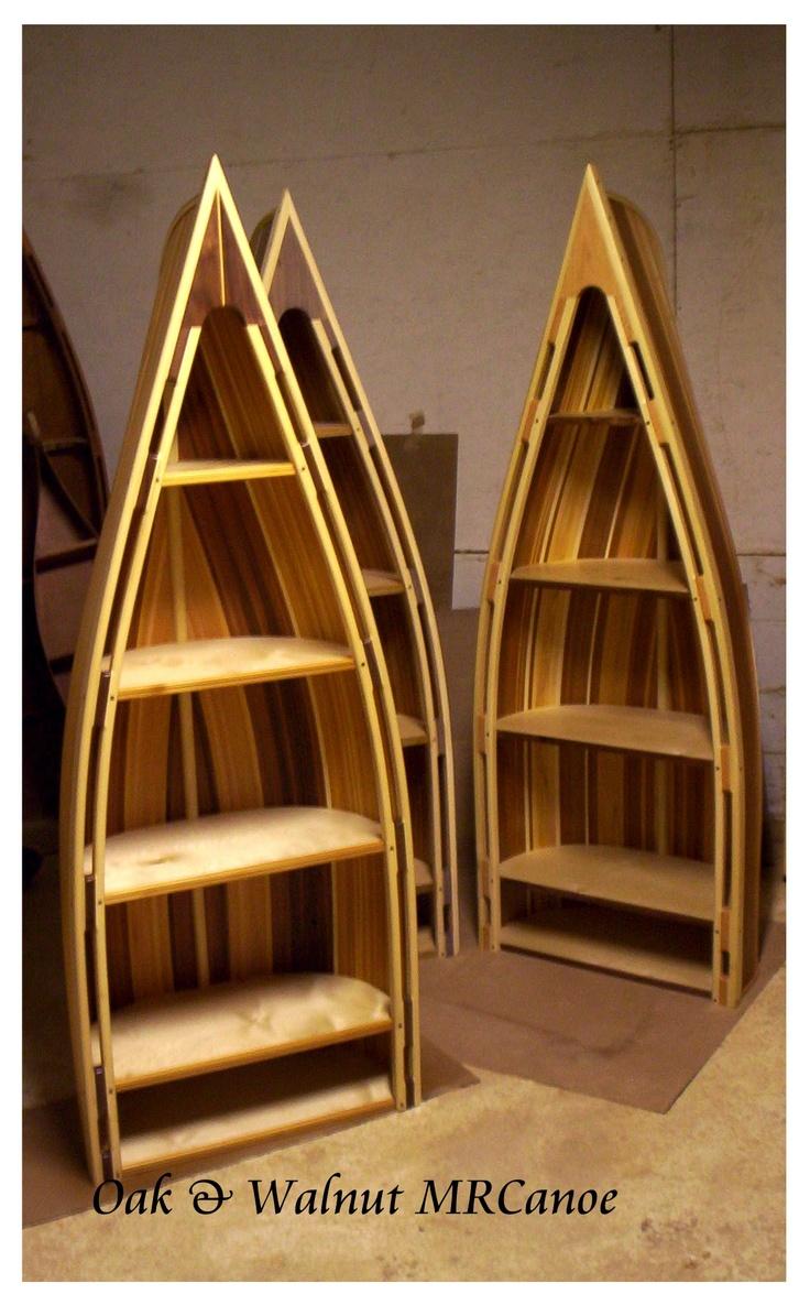 Beautiful Items Similar To Hand Crafted Cedar Strip Bookcase Display Canoe Furniture.  Oak Or Walnut Trim.