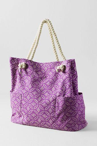 Lands' End Women's Pattern Rope Handle Tote Bag