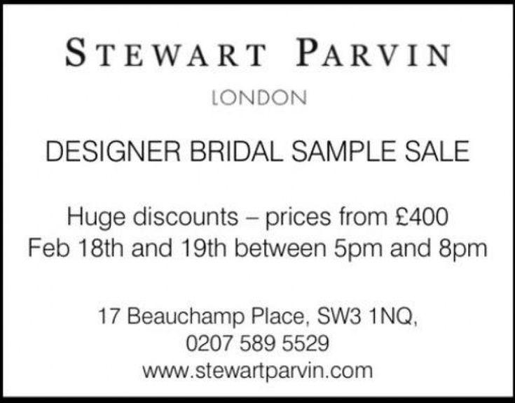 Stewart Parvin bridal sample sale. -- London -- 18/02-19/02