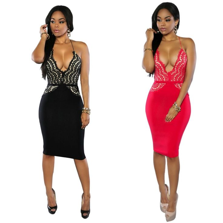 Dower Me High Quality Club Bodycon Dress Lace Deep V-neck Vestidos Sexy Dresses Halter Gowns Summer Outfit Red Black S-XL #Affiliate