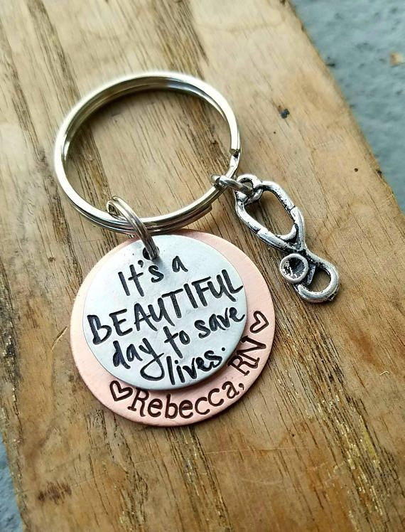 Love this! Personalized hand stamped nurse keychain. Nursing school graduation gift. Registered nurse RN keychain. Custom nurse gift. Gift for mom. $18.50 #nursing #nurses #gifts #affiliate