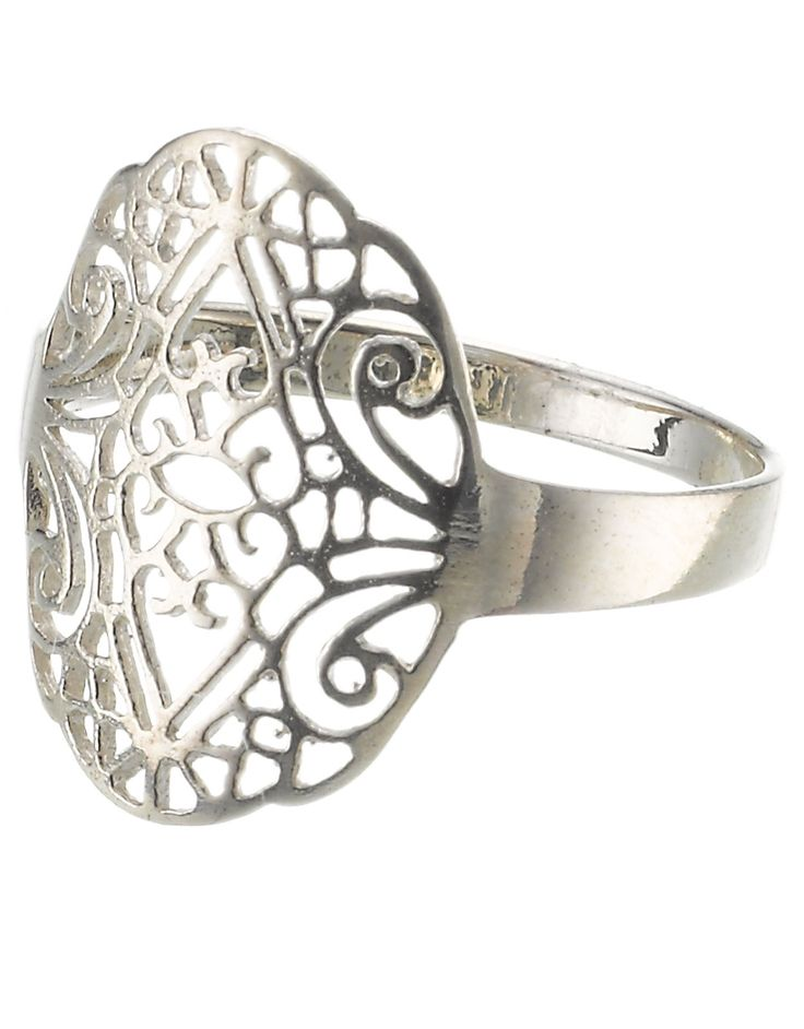 Sterling Silver Filigree Stamped Ring
