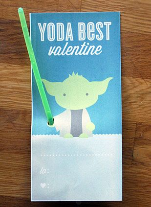 Little Kid Star Wars Glow Stick Valentine Cards Yoda Best! Be My