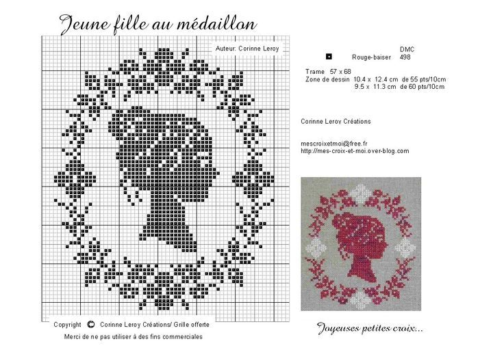 0 point de croix fille profil camée en médaillon - cross stitch side cameo