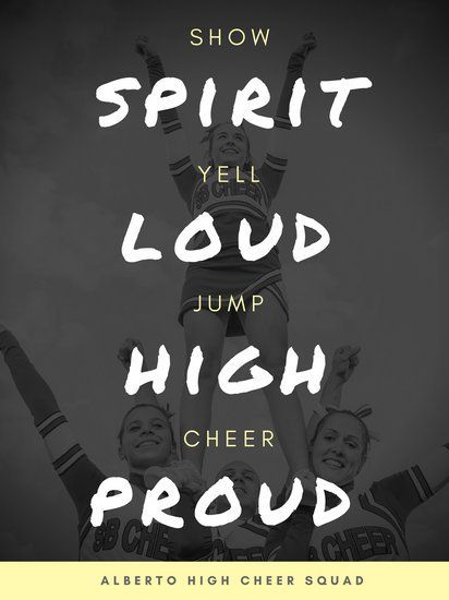Monochrome Yellow Text Cheerleading Poster - Templates by Canva