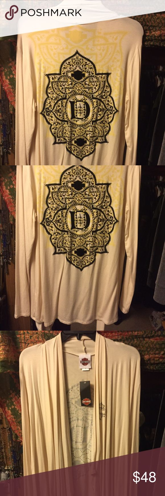 Harley Davidson Cream Cardigan. New. Brand new with tags.  Ladies rayon/spandex blend cream Cardigan. New with tags. Size is small/medium. Open front, no fasteners. Harley-Davidson Tops