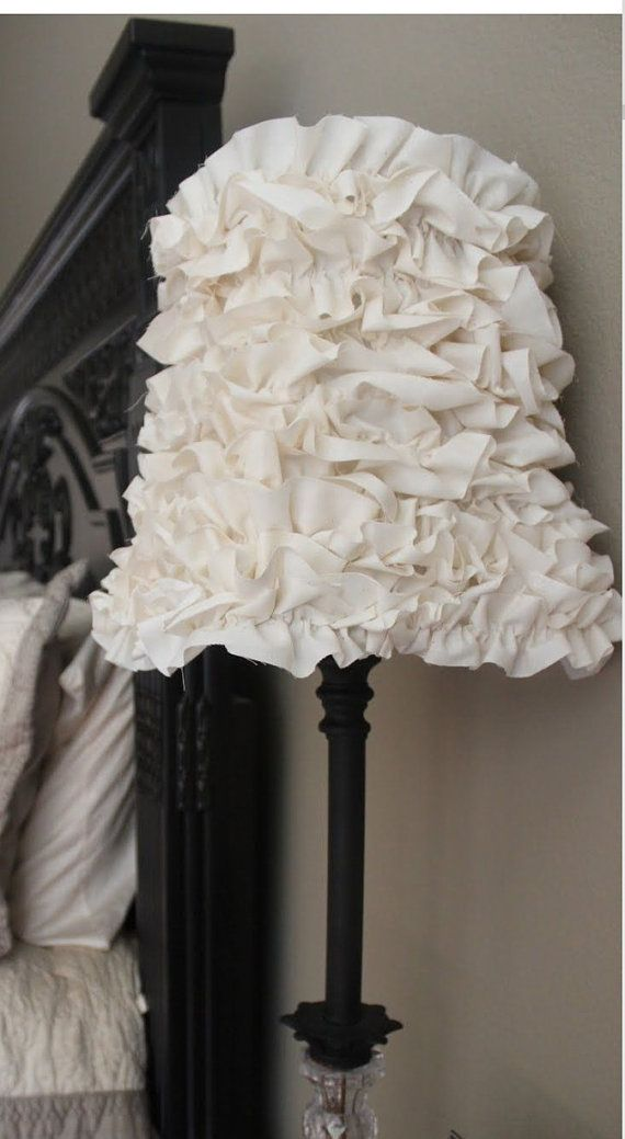 The ruffle lamp shade comes standard in white ruffles but can be done in any color ruffles you would like, just make sure you specify if youd
