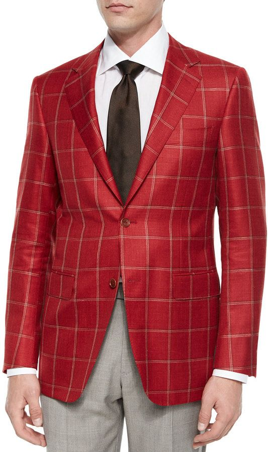 Canali Windowpane Two-Button Jacket, Red