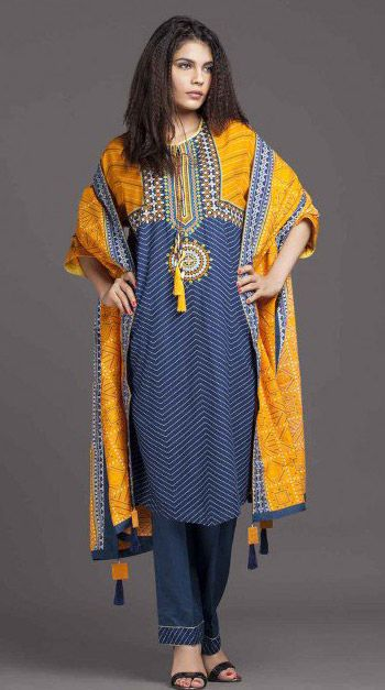 Buy Blue/Yellow Printed Cotton Modal Salwar Kameez by Kayseria Winter Collection