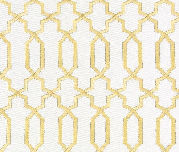Contemporary Gold Fabric   Geometric Gold And White Embroidered Cotton  Upholstery  Modern Metallic Gold Curtain