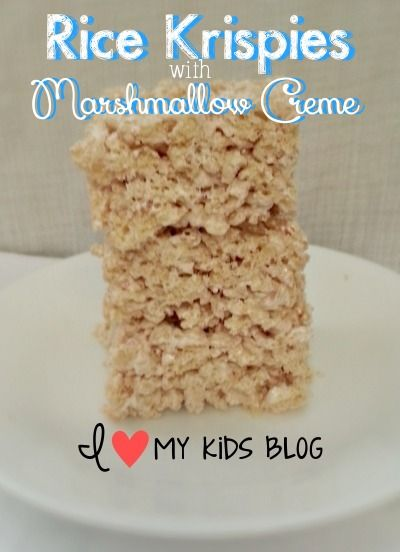 Best Ever Rice Krispie Treats! (One ingredient I never thought of adding! Ingredients:  Rice Krisipies, Marshmallow Creme & Butter.)  l  I Love My Kids