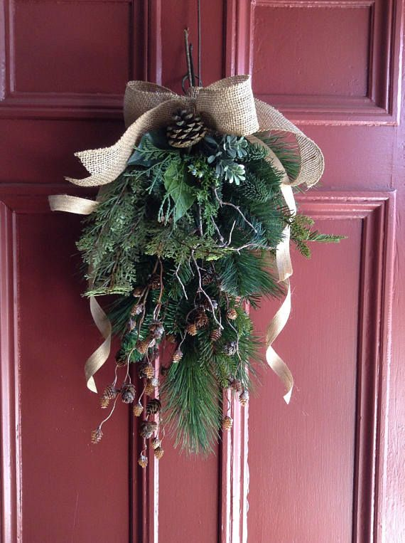 Natural Style Winter Evergreen Door Swag Spray Artificial Mixed Greens With Pine Cones For Winter All Year Christmas Front Door 20 Christmas Planters Winter Wreath Natural Style