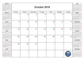 blank calendar october 2018