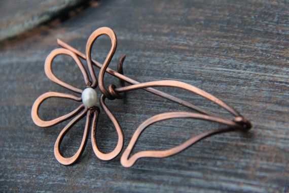 Shawl pin scarf pin sweater pin copper and pearl by Keepandcherish