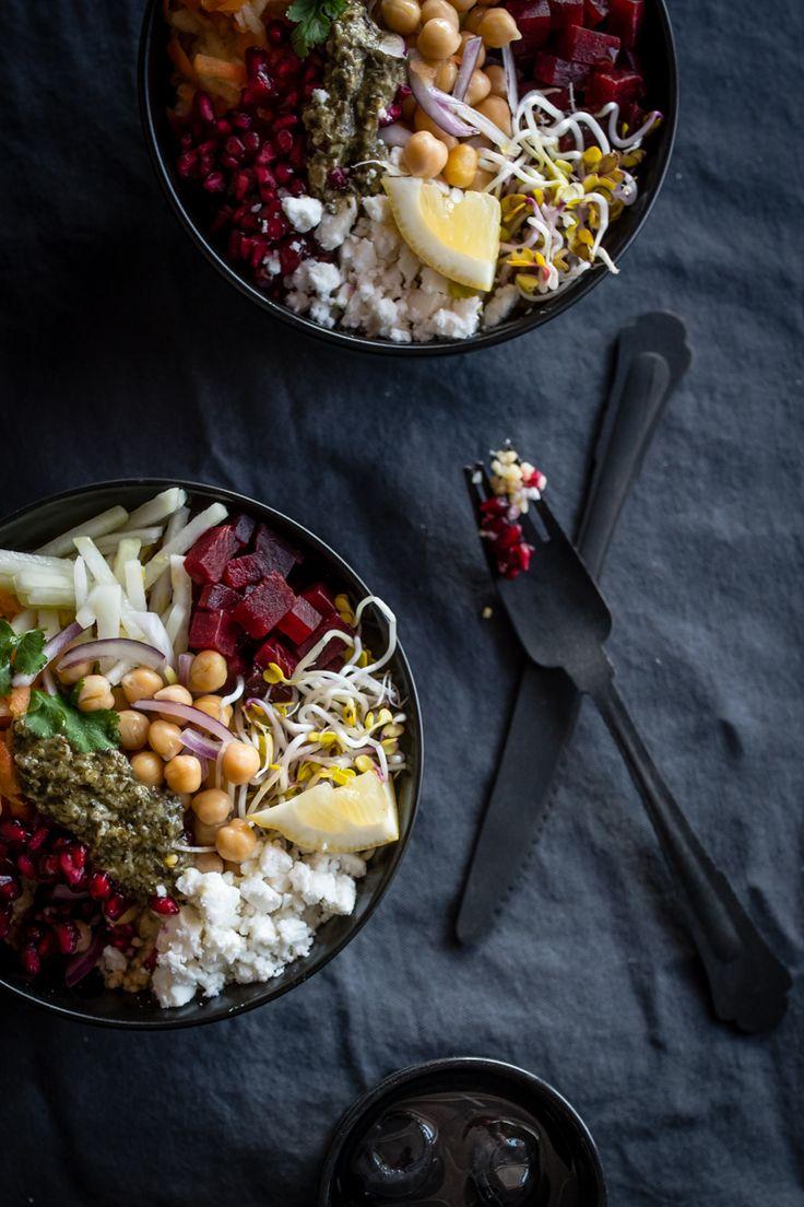 Salat mit feta und apfel
