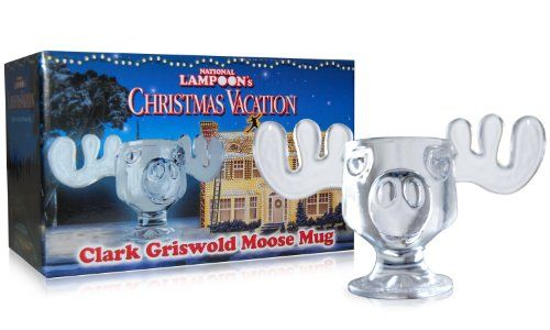 You too can now enjoy your eggnog in a Moose Mug just like Clark Griswold and Cousin Eddie in Christmas Vacation. These replica Christmas Vacation Moose Mugs are officially licensed by Warner Bros. Studios. Each high quality, yet affordably priced mug is individually made from hand molded glass. These festive goblets make unique gifts, perfect conversation pieces and unforgettable party favors.