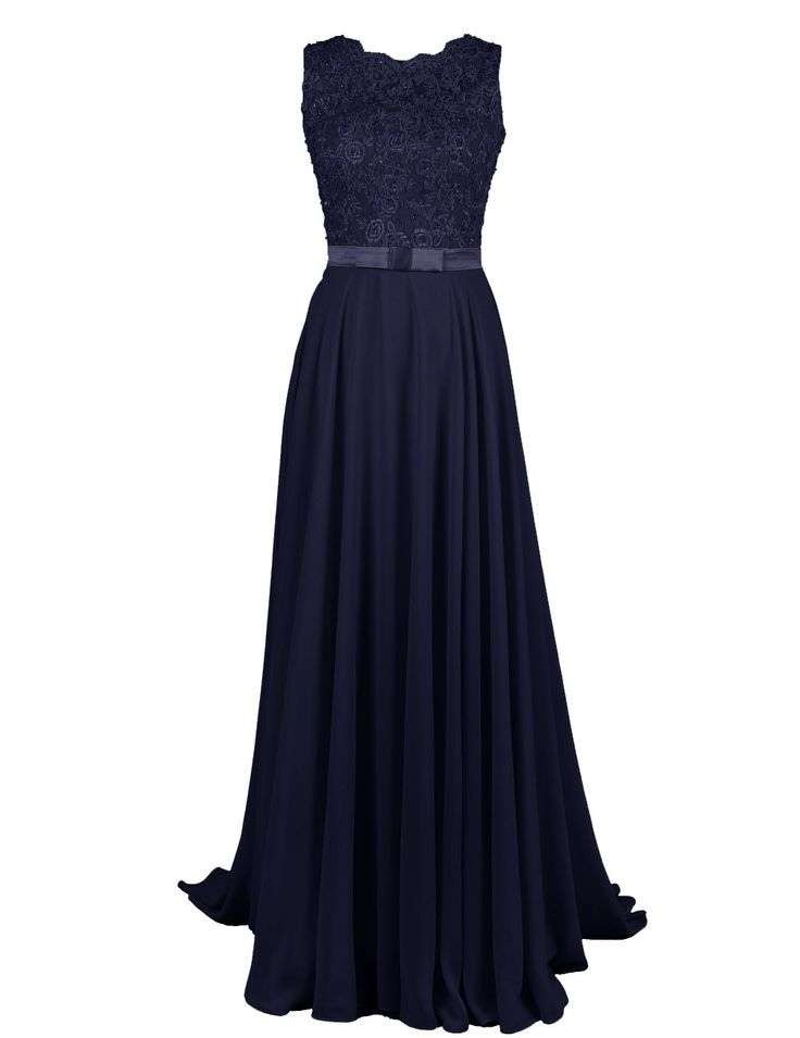Dressystar Long Bridesmaid Lace Appliques Prom Dresses Scoop Party Gowns Backless Size 2 Black