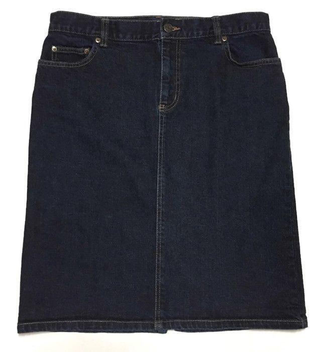 e6d9b7c79a Lauren Ralph Lauren Denim Skirt 10 Stretch Dark Blue 32W 22L ...