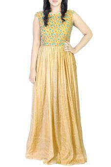 Beige Crepe Floor Length Anarkali by Soucika, Anarkalis #weddingwear #sangeet #sangeetshopping #weddingshopping #indianwedding #anarkali #ethnicwear #indianwear #gown #fulllength