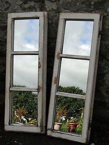rustic reclaimed wooden window frame mirror narrow three pane one of nine - Wooden Window Frame