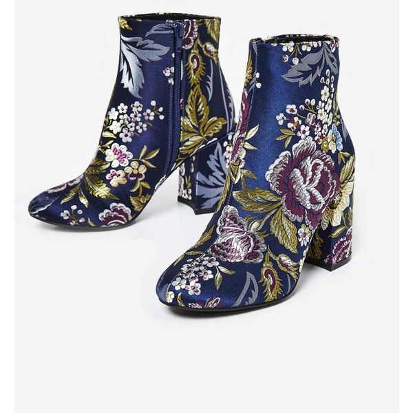 Mimi Block Heel Ankle Boot In Navy Floral Print ❤ liked on Polyvore featuring shoes, boots, ankle booties, navy blue booties, block heel boots, navy blue ankle boots, block heel booties and floral booties