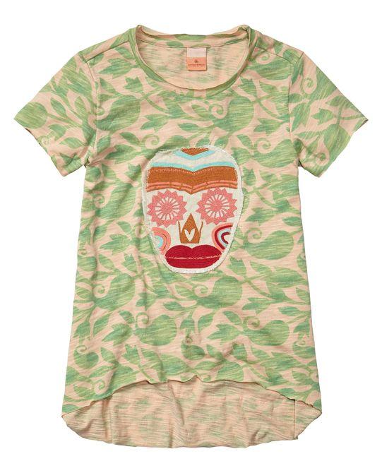 Camiseta de corte A con teñido especial y bordado de calavera.